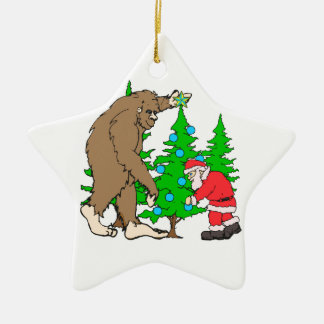 Bigfoot and Santa Christmas Christmas Ornament