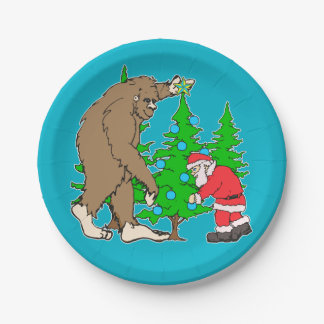 Bigfoot and Santa Christmas Paper Plate
