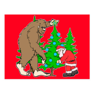 Bigfoot and Santa Christmas Postcard