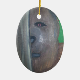 Bigfoot behind tree.jpg christmas ornament