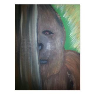 Bigfoot behind tree.jpg postcard