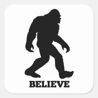 Bigfoot BELIEVE Sasquatch Square Sticker