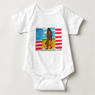 bigfoot carrying a bison on U,s,A. flag Baby Bodysuit