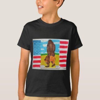 bigfoot carrying a bison on U,s,A. flag T-Shirt
