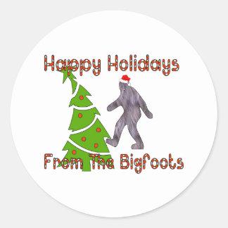 Bigfoot Christmas Classic Round Sticker