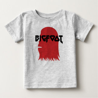 Bigfoot Face and Text - Red and Black Stencil Baby T-Shirt
