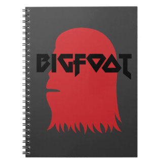 Bigfoot Face and Text - Red and Black Stencil Note Books