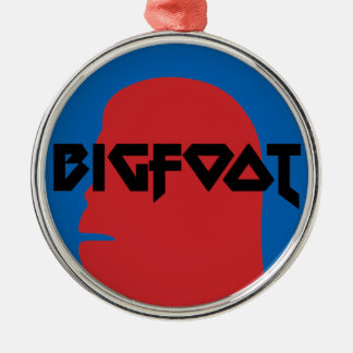 Bigfoot Face and Text - Red and Black Stencil Silver-Colored Round Decoration