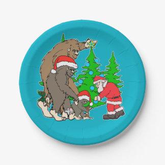 Bigfoot family  and Santa Paper Plate