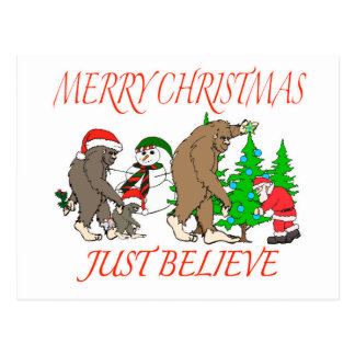 Bigfoot Family Christmas 2 Postcard