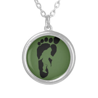 Bigfoot footprint silver plated necklace