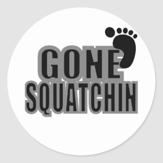 Bigfoot Gifts Gone Squatchin Logo Black grey Round Sticker