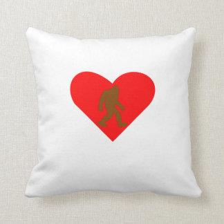 Bigfoot Heart Throw Pillow