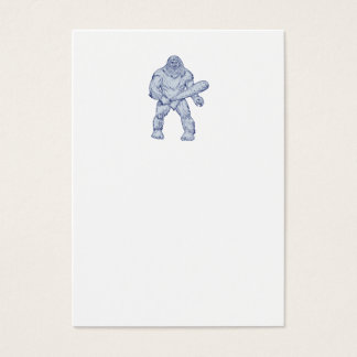 Bigfoot Holding Club Standing Drawing Business Card