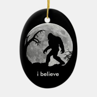 Bigfoot - I believe with moon and tree silhouette Christmas Ornament