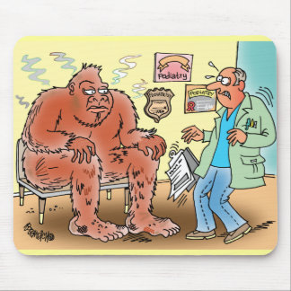 Bigfoot In Podiatrist Waiting Room Cartoon Mousepa Mouse Pad