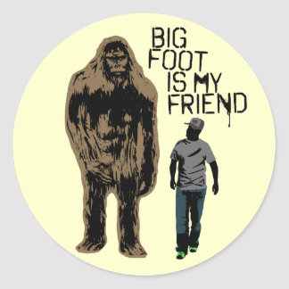 Bigfoot Is My Friend Classic Round Sticker