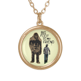 Bigfoot Is My Friend Gold Plated Necklace