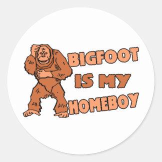 Bigfoot Is My Homeboy Classic Round Sticker