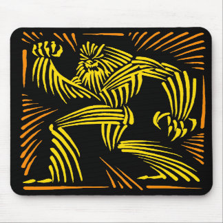 Bigfoot Mousepad Woodcut Graphic - Yellow & Orange
