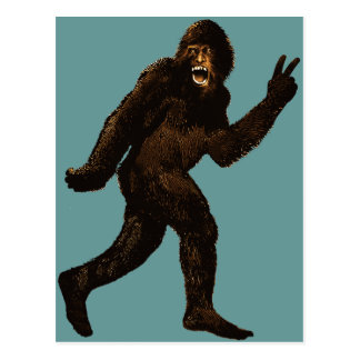 Bigfoot Peace Sign Postcard