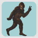 Bigfoot Peace Square Sticker