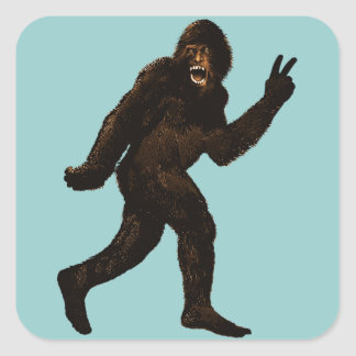 Bigfoot Peace Square Sticker