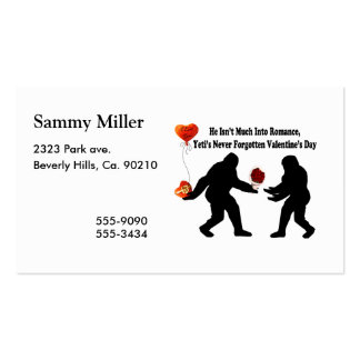 Bigfoot Remembers Valentine's Day Pack Of Standard Business Cards
