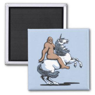Bigfoot Riding a Unicorn Magnet