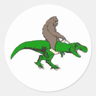 Bigfoot riding T Rex Classic Round Sticker