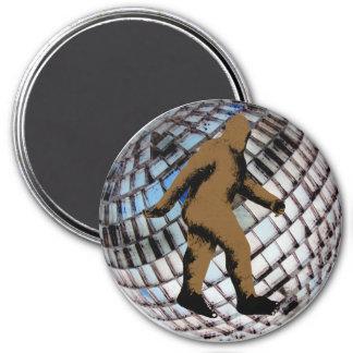Bigfoot Sasquatch on Disco Ball 7.5 Cm Round Magnet