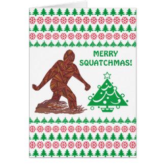 Bigfoot Sasquatch Yeti Cryptid Merry Squatchmas Greeting Card