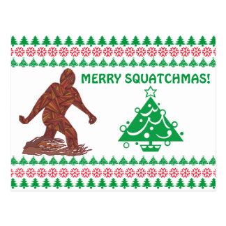 Bigfoot Sasquatch Yeti Cryptid Merry Squatchmas Postcard