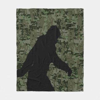Bigfoot Silhouette on Woodland Digital Camouflage Fleece Blanket