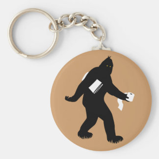 Bigfoot Surprised Basic Round Button Key Ring
