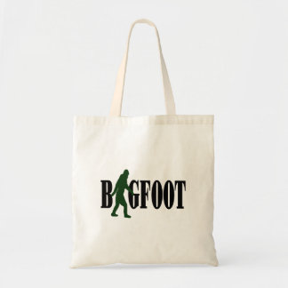 Bigfoot text & green squatch graphic budget tote bag