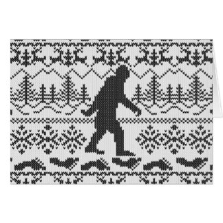 Bigfoot Ugly Christmas Sweater Knit Style Card