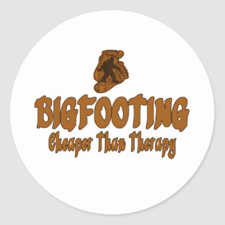 Bigfooting Cheaper Than Therapy Round Sticker