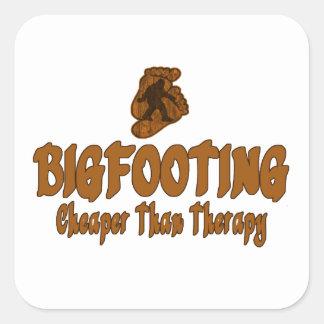 Bigfooting Cheaper Than Therapy Square Sticker