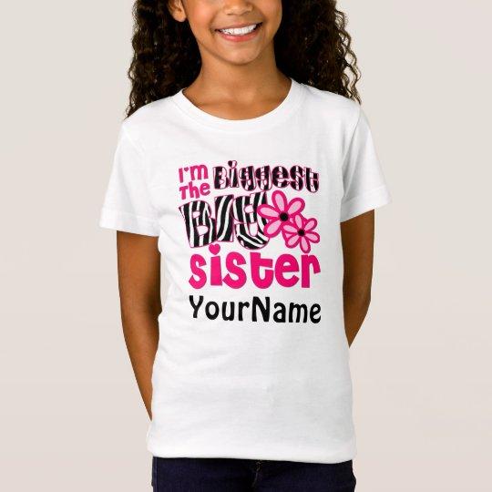 Biggest Sister Personalised Zebra T-Shirt