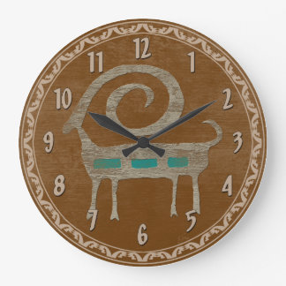 Bighorn Sheep Petroglyph Large Clock