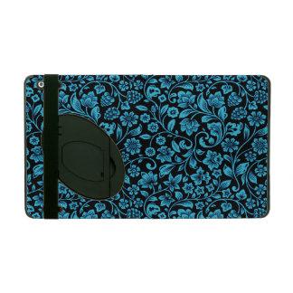 Bight Blue Glittery Floral on Black iPad Folio Case