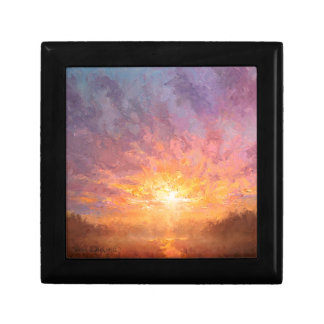 Bight, Bold, and Colorful Clouds Sunrise Painting Small Square Gift Box