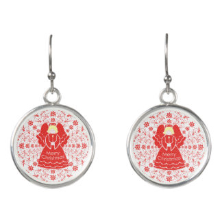 Bight Candle Light Red Christmas Angel Earrings