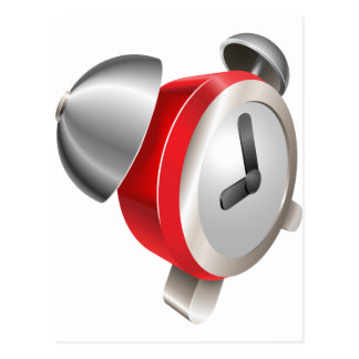 Bight red shiny alarm clock post cards