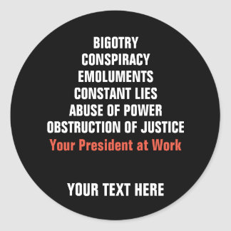 Bigotry Collusion Emoluments Obstruction Impeach Classic Round Sticker