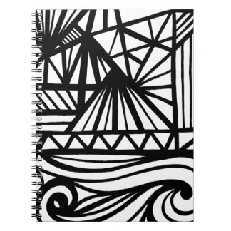 Bigwood Abstract Expression Black and White Spiral Note Book