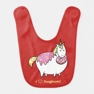 Bijorn The Chubby Unicorn Loves Sprinkle Doughnuts Bib