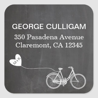 Bike and heart Address Label - wedding postage