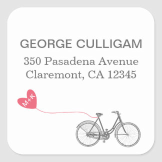 Bike and heart Adress Label - wedding postage Square Sticker